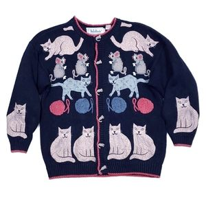 Vintage BellePointe Cat & Mouse Cardigan Sweater